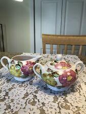 Blue Ridge Good Housekeeping Pink Yellow Blossom Flowers Creamer Sugar Bowl