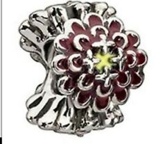 Authentic Chamilia Element Charm Silber Blooming Zinnia Burgundy Bead 2020-0652