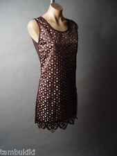 Sale Jeweled Embellished Elegant Mod 60s Lattice Design Party Shift Dress S/M