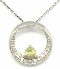 Peridoto colgante de diamante con cadena plata de ley 925 RODIADO