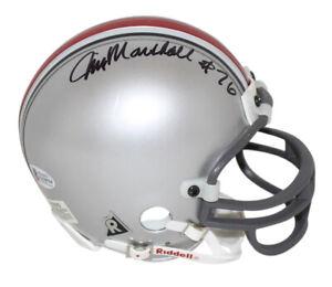 Jim Marshall Autographed Ohio State Buckeyes Replica Mini Helmet BAS 32665