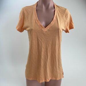 Victoria's Secret 100% Cotton Short Sleeve V Neck T-Shirt  Orange  Size S  NWT