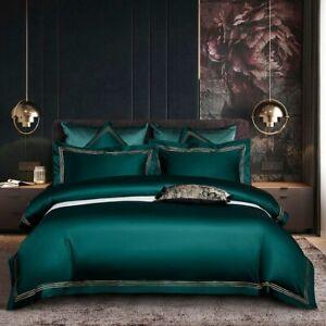 Egyptian Cotton Bedding Sets Duvet Cover Fitted Sheet Elastic Linen Pillowcase