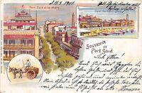 BG32697 port said et le phare lighthouse types egypt litho