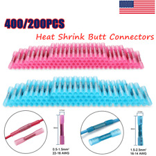 400300200pcs 26 12 Awg Heat Shrink Butt Wire Splice Connectors Crimp Terminals