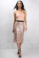 Rare Rose Gold Scallop Sequin Bustier Midi Dress Size UK 6 LF077 CC 11