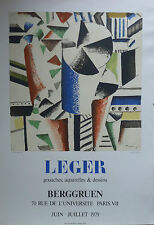 FERNAND LEGER ANCIENNE AFFICHE LITHOGRAPHIE 1979 GALERIE BERGGRUEN