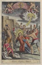 Blome's Bible History - SAINT STEPHEN STONED - Hand-Colored Engraving -1701