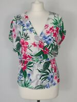 DOROTHY PERKINS WOMENS SUMMER FLORAL WRAP AROUND SLEEVELESS BLOUSE SIZE 12