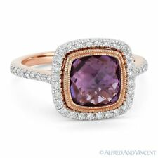 2.69ct Amethyst Gem & Diamond Pave Halo Right-Hand Ring in 14k Rose & White Gold