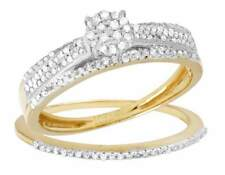 Diamond Cluster Engagement Ring Set 0.45ct Ladies 2 Piece 10K Yellow Gold Real
