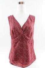 ANN TAYLOR Loft Sleeveless V-Neck Empire Waist Pleated  Blouse Size 8 Multicolor