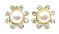 Mabe White Pearl & Cubic Zirconia Earrings,14k Yellow Gold