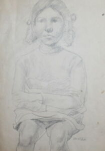 1964 PENCIL DRAWING GIRL PORTRAIT SIGNED