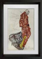 "Egon SCHIELE Lithograph ""Self Portrait as Prisoner"" SIGNED Dated w/Frame"