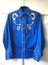 H Bar C Vtg 50s California Ranch Wear Bright Blue Western shirt