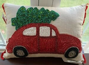 QUEENWEST TRADING CO. 10 X 14  pillow red beaded car & green Christmas Tree NWT
