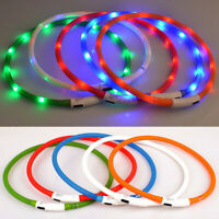 Waterproof Rechargeable USB LED Flashing Light Band Belt Safety Pet Dogs Collar