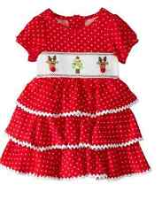 Mud Pie Baby Girls Christmas Corduroy Smocked Tiered Dress 6 - 9 months NEW