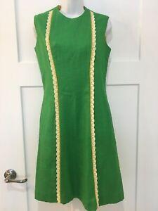 Vintage 70s Sleeveless Green Linen Dress  Mod Scooter Size 10 Union Made USA