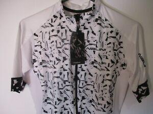 "New Medium Black & White Geometric Full Zip NALINI ""Black Label"" Bike Jersey-NWT"