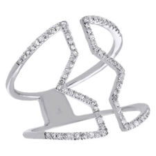 10K White Gold Diamond Geometrick Band Ladies Cut Out Right Hand Ring 0.25 Ct.