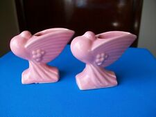"2 Vintage Nelson McCoy Pigeon Flower Holder 4"" Rose Pink Art Deco"