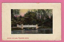 Vintage postcard. Bridge and Lake, Wardown, Luton, Bedfordshire. Dated 1910.