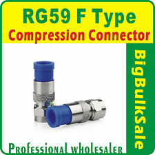 10 x RG59 F Type Compression Connector Coax Free Postage