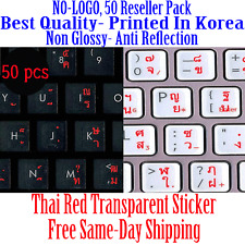 Thai Transparent Keyboard Sticker Red letters no Reflection Stickers 50pcs DEAL!