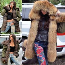 Roiii Faux Fur Parka Hooded Fur Lining Warm Coat Winter Jacket Outwear For Women