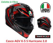 Casco Integrale in Fibra 2019 AGV K-5 S Hurricane 2.0 Black/Red Taglia ML 58 cm