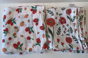 LITTLE UNICORN Cotton Muslin Swaddle Blanket Poppies Strawberries Girl