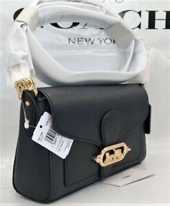 ❤️ NWT Coach Jade Black Leather Shoulder Crossbody Bag F91105