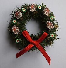 Dolls house miniatures: Christmas wreath with gingerbread men