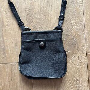 DKNY Grey canvas/Leather women's Logo print crossbody BAG