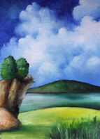 Original ART ACEO oil PAINTING cloudy landscape summer freshness