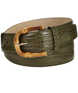 STEVE MADDEN Croc-Embossed Faux Leather Belt sz XL X-Large Green