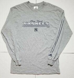 Retro Adidas 2005 New York Yankees Long Sleeve Crewneck Sz M / Gray Navy NY logo