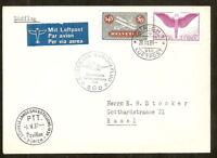 Suisse:P. A. Swissair Europaflug,enveloppe de Zurich pour Bâle 1939,très belle