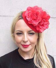 Red Net Flower Pillbox Hat Fascinator Races Wedding Hair Clip Rose 1950s 3435