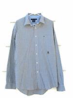 Tommy Hilfiger Mens Long Sleeve Dress Shirt Plaid & Checks Gray Green Size XL