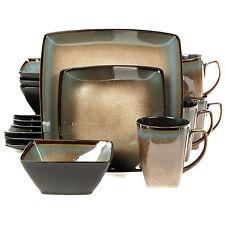 Gibson Taupe Tequesta 16pc Square Glazed Stoneware Dinnerware Dish Mug Set for 4