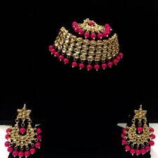 Necklace Set Gold Tone Kundan Choker Earrings Maang Tikka Woman Girls