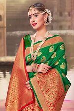 Indian Saree Bollywood Sari Designer Green Woven Banarasi Art Silk -1188