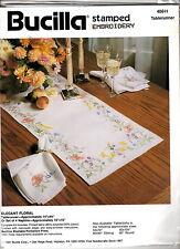 "Bucilla Stamped Embroidery Linen  ELEGANT FLORAL TABLERUNNER 40611 14""x44"" MIP"