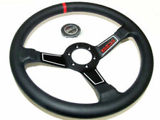 Sparco Steering Wheel - L575 (350mm/63mm Dish/Leather) Red Stripe Dished