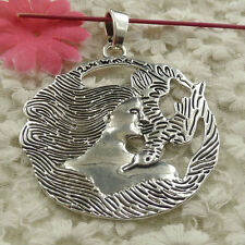 free ship 4 pieces Antique silver fairy bird charms pendant 77x61mm H-4682