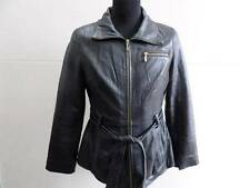 "WOMENS WINLIT LEATHER JACKET SIZE M 36"" BLACK GOOD CONDITION SKU NO Z265"
