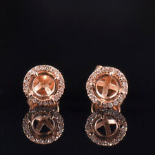 Natural Diamond Semi Mount Earrings Stud Setting Round 5mm Solid 14K Rose Gold